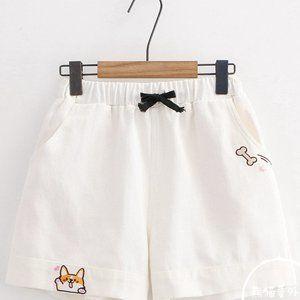 NWOT Cute Kawaii White Shiba Inu shorts S